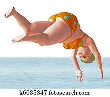 Fat swimmer jumps into the water
