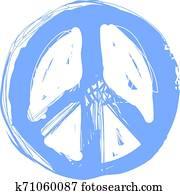 frieden, hippie, symbol, gekritzel, art., freedom,, spirituality,, occultism,, textilien, art., vektor, abbildung, für, t-shirt, print., vektor