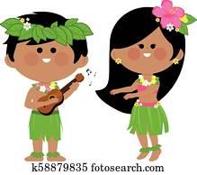 Hawaiian children playing music and hula dancing. Vector illustration
