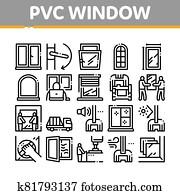 pvc fenêtre cadres collection icônes set vector