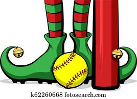 Softball Christmas Elf Feet