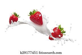 strawberries with milk splash