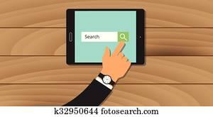 suchmaschine, analytics, web, tablette, hand, suchen