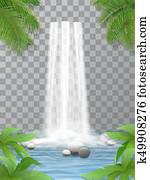 waterfall stones jungle