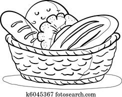 bread, in, a, basket,, kontur