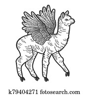 Cute llama with wings. Scratch board imitation. Black and white hand drawn image.