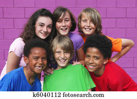 diverse mixed race group of kids