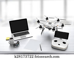 Drone and controller on desk