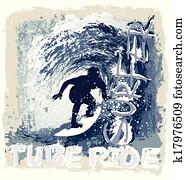 surfen, rohr, reiten