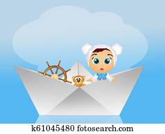 baby on paper boat