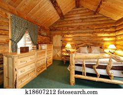Immagine capanna di tronchi ufficio con verde moquette e