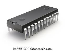 Electronic integrated chip (microchip or microcircuit) on white background