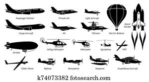 List of different airplane, aircraft, aeroplane, plane and aviation icons.