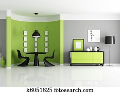 modern green dining room
