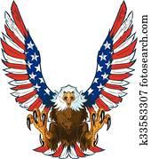 adler, mit, amerikaflagge, flügeln