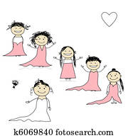 Bride with bridesmaids for your design