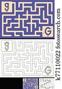 leicht, alphabet, labyrinth, -, buchstabe g