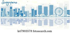 Outline Singapore skyline with blue buildings and reflections.