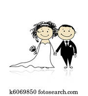 Wedding ceremony - bride and groom together for your design