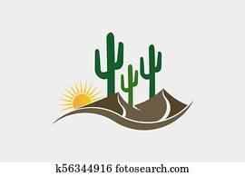 kaktus, wüste, westliche, logo, abbildung