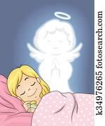Kid Girl Guardian Angel Peaceful Sleep