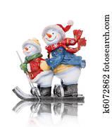 Snowmen Skiing