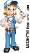 Cartoon Female Electrician Holding Screwdriver