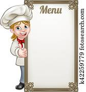 Cartoon Woman Chef Menu