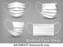 Collection of a white medical face masks isolated on transparent background. To protect from infection and coronavirus Covid -19. Realistic Vector Illustration.