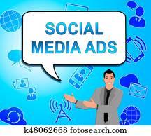 Social Media Ads Means Online Marketing 3d Illustration