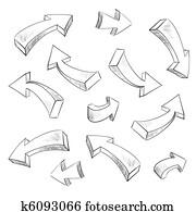 3d, pfeil, sketchy, entwerfen elemente, satz, vektor, abbildung