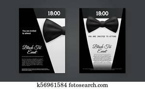 Elegante, corbata negra, acontecimiento, invitación