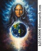 beautiful oil painting on canvas of a woman goddess Lada