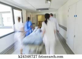 bewegungszittern, tragbahre, gurney, kind, patient, klinikum, notfall