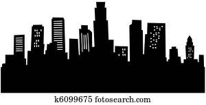 Cartoon Los Angeles Skyline
