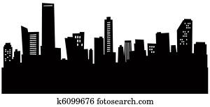 Cartoon Miami Skyline