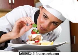 chef decorating food