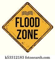 Flood zone vintage rusty metal sign