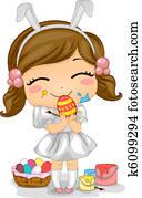 Girl Making Easter Eggs