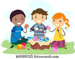 Kids Making Easter Eggs