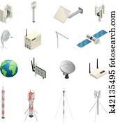 Wireless Communication Equipment Isometric Icons