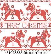 Buon Natale 883.Buon Natale Scheda Con Nordico Case Clip Art K40978006