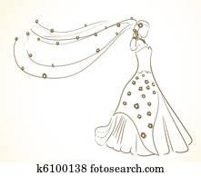 heiraten kleid, mit, blumen, in, schleier