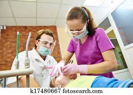 An, zahnarzt, mediziner, orthodontisch, doktor, prüfung ...