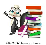Skunk cartoon character with book