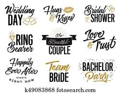 Wedding Lettering Phrases Vector Set