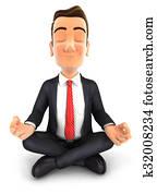 3d businessman doing yoga