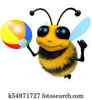 3d Funny cartoon honey bee character playing with a beachball