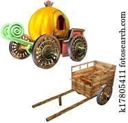 Carriage of pumpkin and Cart set