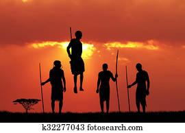 Masai dance at sunset